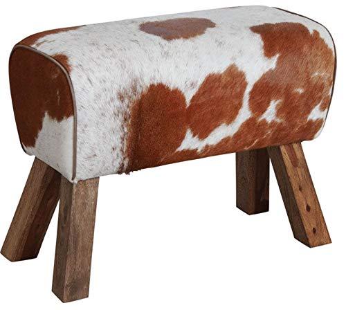 Aubry Gaspard Hocker aus Holz und Haut-Kuh