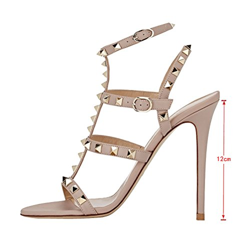 EKS Damen Fllosacd Gladiator Thin T-Straps mit Nieten High Heels Schuhe Buckles Sexy Sandalen Schuhe Plus Size EU 35-46 Nackt