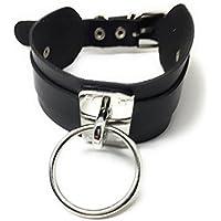 Extra ancha collar gótico and Punk Piel kropf banda Choker Negro con anillo