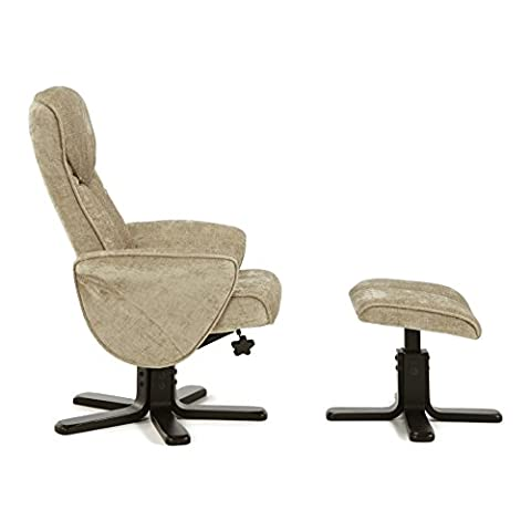Modern Massage Recliner and Footstool - Adjustable Recline and 360°