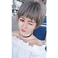 WSC Postizos Peluca onda cabeza flequillo peluca mujer pelo corto natural realista esponjoso lino gris color