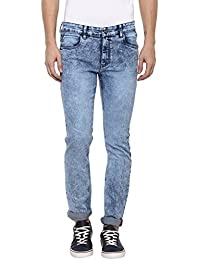 Urbano Fashion Men's Light Blue Slim Fit Stretch Washed Jeans