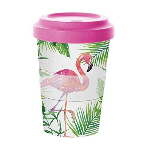 PPD Tropical Famingo Bamboo Coffee-To-Go Becher, Kaffeebecher, Pappbecher, Trinkbecher,...