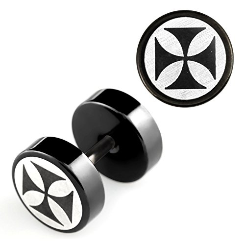 2 Stück Fake Plug Eisernes Kreuz Logo Ohrstecker Black Schwarz Tunnel Ohrring Cap Ø 8mm (Star Black Ohrringe)