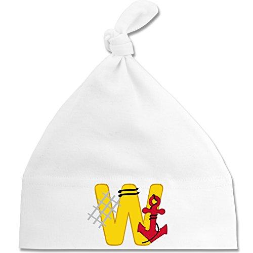 Anfangsbuchstaben Baby - W Schifffahrt - Unisize - Weiß - BZ15 - Baby Mütze mit einfachem Knoten als Geschenkidee