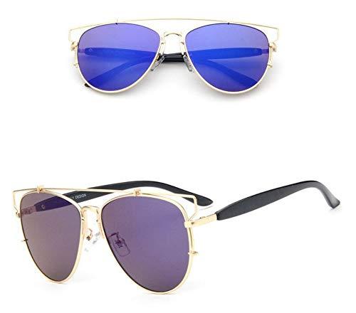 WSKPE Sonnenbrille,Metallische Sonnenbrille Farbe Film Reflektierenden Brille Gold Frame,Blaue Linse