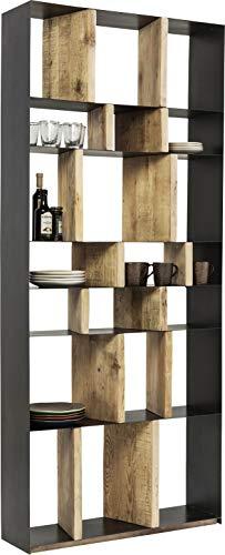 Kare Design Regal Storm, Regal aus Stahl mit Regalwänden aus Holz, Bücherregal, modernes, offenes Regal (H/B/T) 234x100x30cm -