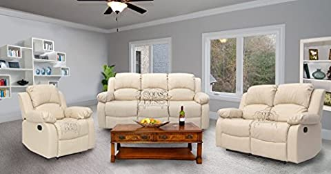 Premium Top Quality Leather Reclining Family Sofa, Love seat, settee, Armchair, Luxury Lounge Couche sets, Express Home Delivery Cream (1