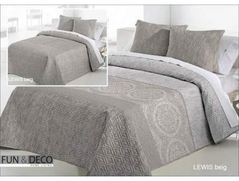 Fundeco Couvre-lit bouti Lewis Beige 200 x 270 cm+ 1 taie d'oreiller 60 x 60 cm (lit 105 cm)