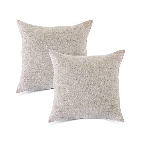 Grau Kissenbezug Home Dekorative Plain Kissen aus Baumwollleinen, Line Displayschutzfolie 45,7x 45,7cm Neutral 2er Set für Couch, Bett, Sofa oder patio-mrniu, Polyester, grau, 18 x 18