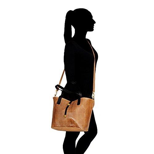 Frau Handtasche Pythonmuster mit großen Griffen und Schultergurt in echtem Leder Made in Italy Chicca Borse 30x24x13 Cm Bräunen