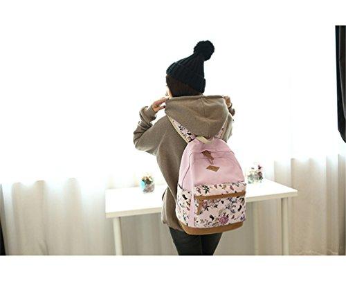 Go Further Lässige daypack neue Leinwand Blumendruck-Design-Student Schultern grünen Rucksack für Mädchen Rosa