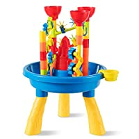 GYMAX. Kids Beach Toy Set, Plastic Sand and Water Activity Table with Lots of Accessories for Indoor Outdoor Fun