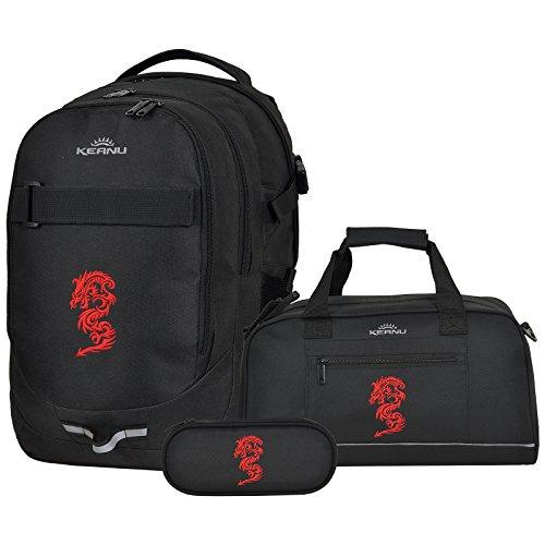 Premium Schulranzen 4 Teile Set KEANU Schulrucksack Campus HELD :: 26 Liter, Rückenpolster, Laptopfach, Reflektor :: inklusive Sporttasche Mäppchen Etui Box Regenhülle (Red Dragon) -