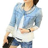 Damen Hauchhülse Jeansjacke Denim Jacken Mantel Pailletten Strass Revers Stitching Stil Reißverschluss Retro Kurzmantel