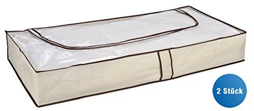COM-FOUR® 2x Unterbettkommode in beige mit Reißverschluss und Haltegriffe, 103 x 45 x16 cm (02 Stück - beige)