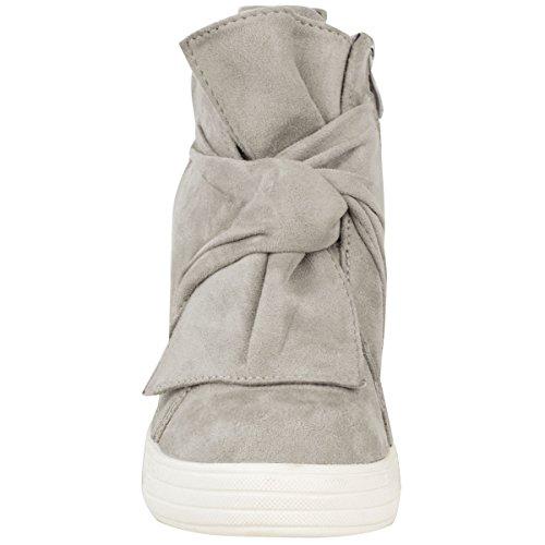 Baskets mi-hautes - talon compensé haut - noeud décoratif - femme Faux suède gris/semelle blanche