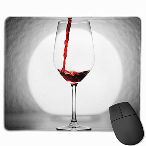 Mouse Pad A Glass of Red Wine Rectangle Rubber Mousepad 11.81 X 9.84 Inch Gaming Mouse Pad with Black Lock Edge