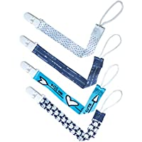 4 Pack Baby Dummy Clip Pacifier Strap Holder, JM Baby Multicoloured Washable Soother Clip Chain with Unique 2-Sided Stylish Design for Unisex Newborn Boys