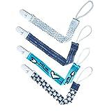 4 Paquete Clip de Chupete Cadena del Bebé Botón fijo Ajuste Correa Longitud para Unisexo, Diseño De Doble Cara De Estilo Moderno