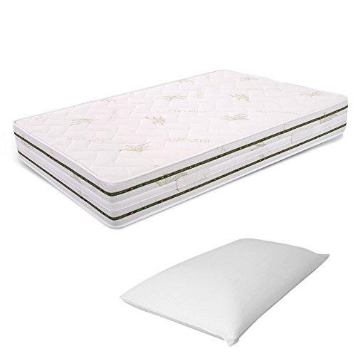 Miasuite materasso piazza e mezza memory foam 6 cm 120x190 alto 25 cm + cuscino memory foam alto 13 cm relax ortopedico