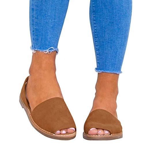 Sandalen Damen Sommer Sandaletten Flachen Frauen Knöchelriemchen Espadrille Plateau Flip Flop Sommersandalen Bequeme Elegante Schuhe Schwarz Weiß Rosa Gr.34-44 BR36