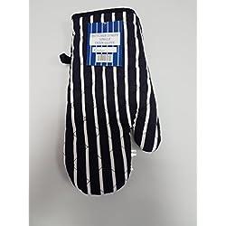 Mellcrest Guantes para Horno con diseño de Rayas de Mariposas, Color Azul Marino y Blanco