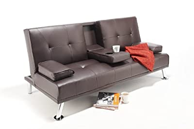 Cheap Faux Leather TV Cinema Sofa Bed on Chrome Legs with Pull Down Drinks Holder by Southern Sofa Beds (Brown)