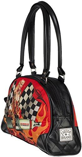 8ac9693956528 ... Liquor Brand Unisex Tasche Queen of Speed Handtasche Schwarz Schwarz  mit buntem Motiv