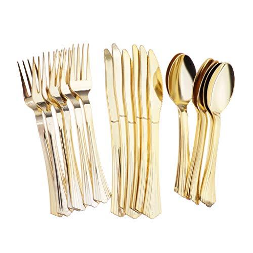 B Blesiya 18er / Set Geschirr Einwegbesteck Gabeln Messer Löffel aus Kunststoff - Golden - Kunststoff-löffel-gabel-messer-set