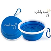Rudelkönig Faltbarer Reisenapf aus Silikon - Trinknapf für Hunde - BPA Frei - Auslaufsicherer Wassernapf - Tragbarer Futternapf für Reisen - Fressnapf für unterwegs - Gratis E-Book