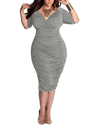 BIUBIU Damen Plus size V-Ausschnitt Bandage Cocktailparty Bodycon Bleistift Kleid Grau DE (Size Sexy Plus Kleid)