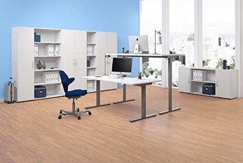 Elektrisch höhenverstellbarer Schreibtisch, links, 1800x1000x680-1160, Weiß/Silber, Geramöbel -