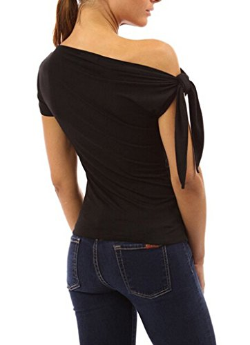 Smile YKK Sexy Chemise Une Epaule Nue Femme T-shirt Manche Courte Blouse Top Eté Haut Elégante Noir