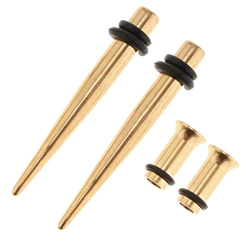 F Fityle 4 Stücke Edelstahl Ohr Messgeräte Ohrstöpsel Unisex Mode Piercing Schmuck, Ohrkegel Stretching Kit Tunnel Plugs - Gold 4mm (4 Verjüngt Gauge)