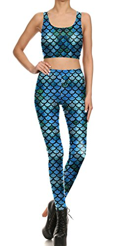 Belsen Femme sirène écailles de poisson élasticité Leggings crayon Pantalon Gilet Leggings
