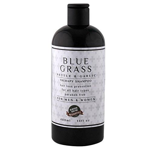 BLUE GRASS Co. Anti-Hair Loss Premium Natural Nettle and Garlic Shampoo, Hair Loss Prevention Therapy Shampoo, Helps Stop Hair Loss, Grow Hair Fast, Hair Loss Treatment for Men & Women - 400 ml