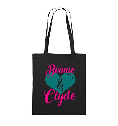 Comedy Bags - Bonnie & Clyde - HERZ MOTIV - Jutebeutel - lange Henkel - 38x42cm - Farbe: Schwarz / Weiss-Neongrün Schwarz / Pink-Türkis