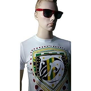 Srazda - Tee-shirt blanc homme - Coupe ajustée - Manches courtes - Dessin devant style jamaicain et écriture dans le dos (couleur velours noir et jaune / pailleté vert et rouge)
