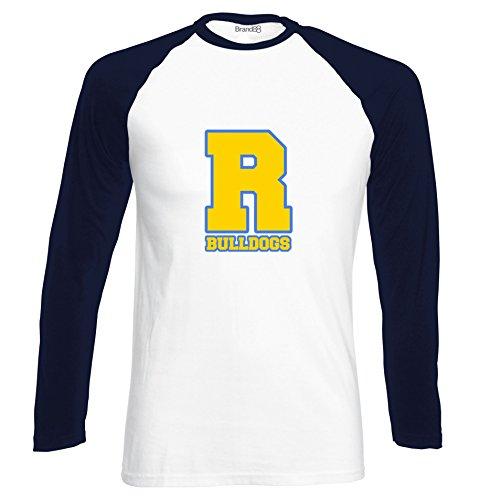 Preisvergleich Produktbild Bulldogs, Langarm-Baseball-T-shirt, Weiss/Dunkelblau/Transfer, S (35-37 Zoll)