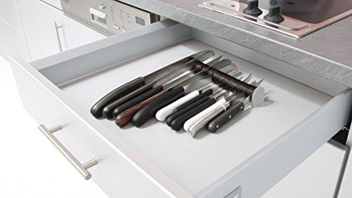 FACKELMANN NIROSTA Schubladen-Messerhalter, Schubladeneinsatz für Messer, Messerblock für die Schublade (Farbe: Grau/Silber), Menge: 1 Stück