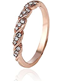 Simple Sweet Rhinestones Wedding Ring Engagement Ring Women Jewelry - Size 5 (Rose Gold)