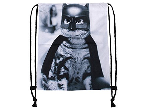 Hanessa Jutebeutel mit Bad Cat Katze Tier Aufdruck Sportbeutel Tüte Rucksack Beutel Tasche Gym Bag Gymsack Hipster Fashion Sport-tasche Einkaufs-tasche Bat-man Katze