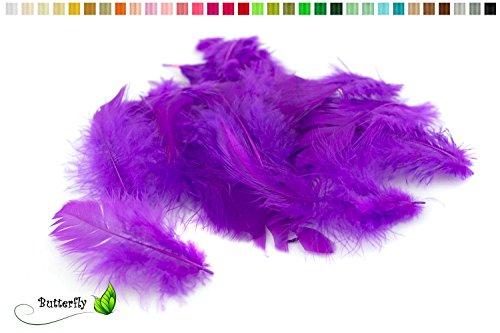 5g Bastelfedern 5-10cm (lila/purpur 465) // Dekofedern Hühnerfedern Marabu Federn Schmuckfedern Marabufedern