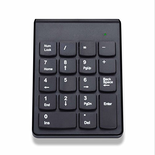 QHGstore 18 Keys Wireless USB Nummernblock Tastatur mit 2 4G Mini USB Numeric Empfänger