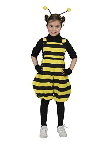 Pet Kostüm Bumblebee - Halloweenia - Mädchen Kinder Kostüm Hummel Biene Latzhose mit Streifen, Bumblebee Bib Overall, perfekt für Karneval, Fasching und Fastnacht, 140, Gelb
