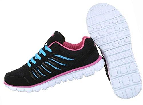 Damen Schuhe Freizeitschuhe Sportschuhe Schnürer Schwarz Schwarz