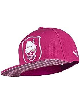 WIESNROCKER I WR1005-1, Snapback-Cap, Schild-Mütze in pink, 3D-Stick in weiss, stylisch mit vielen Details, hochwertig...