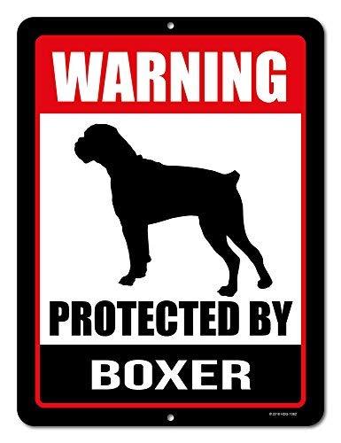 Vorsicht vor Hund Schild Warnung durch Boxer 9x 12Vorsicht vor Hund Achtung Metall Aluminium Sign Decor BEWARE OF DOG Sign -
