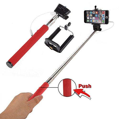 Selfie Stick Stange für Samsung Galaxy Stativ Teleskop AUX Selbstauslöser Stativadapter Universal Selfie Teleskobstab IOS Android Selfie Teleskopstab Selfi Stick Selfi Stab (Rot)